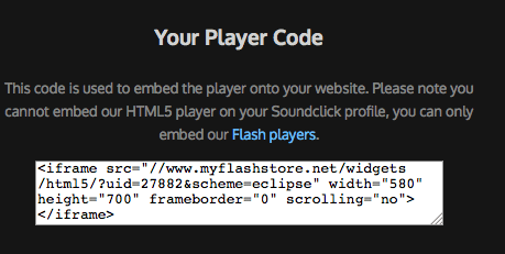 Get the myFlashStore player embed code.