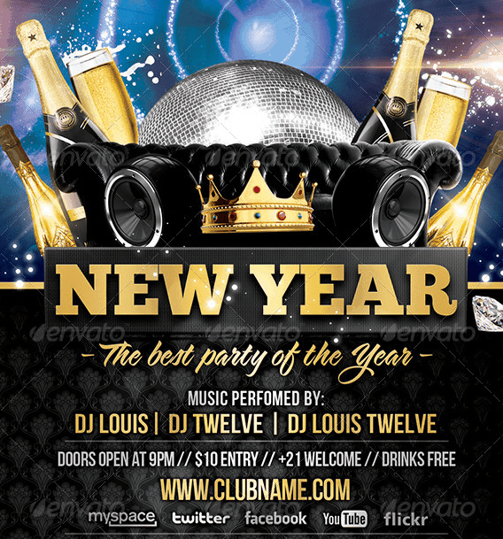 Deluxe / New Year   Flyer + FB Cover