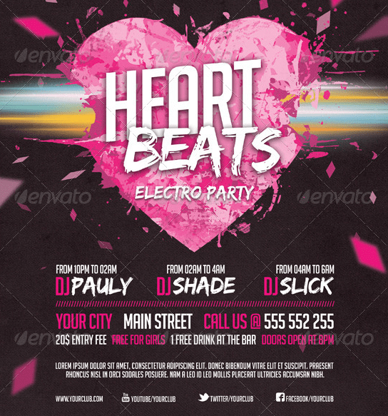 Heart Beats Party - Event Flyer Template