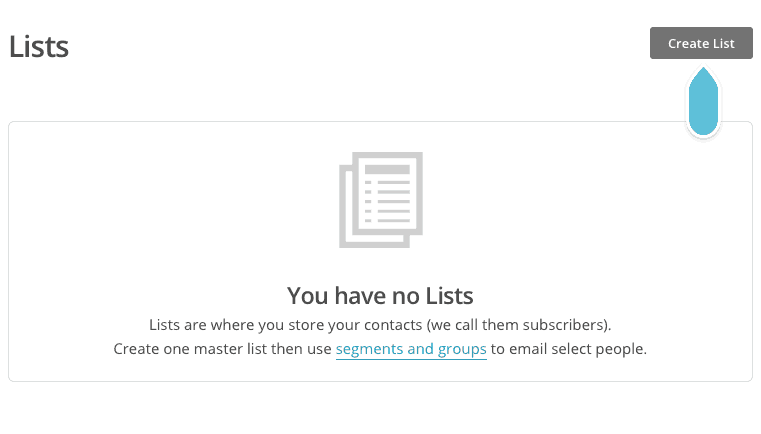 Mailchimp need a list