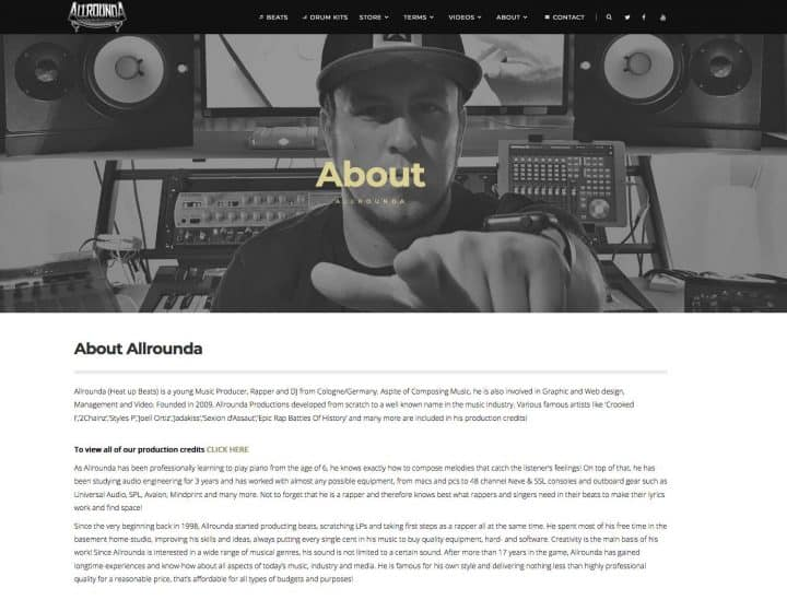 Music Producer About Page - Website Pages Every Music Website Needs