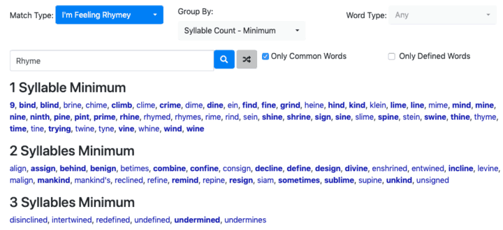 Dillfrog Muse Rhyming Dictionary