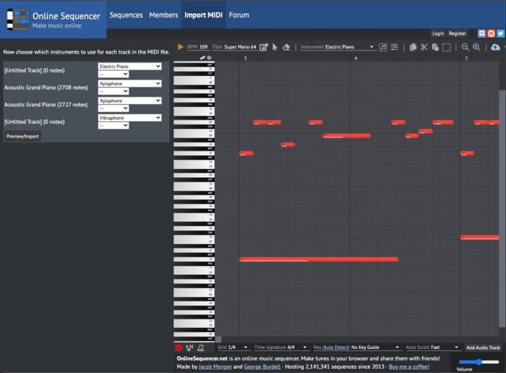 Online MIDI Sequencer / Online Piano Roll Editor